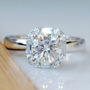 Silver and  moissanite ring